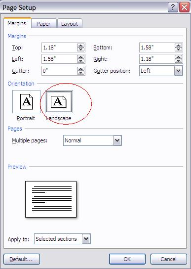 how to change orientation to landscape on word