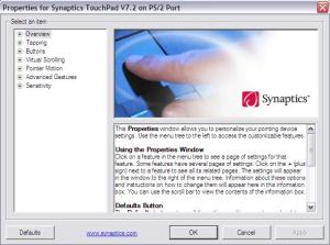 properties for synaptics touchpad